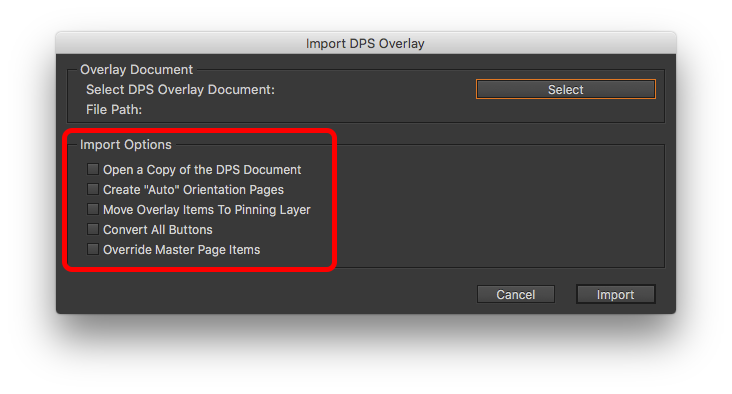 Select the appropriate 'Import Options' that best fit how you want to convert your DPS Overlay document