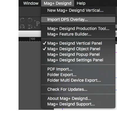 Select 'Import DPS Overlay' from the 'Mag+ Designd' menu