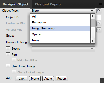 "With the image block selected open the Designd Object panel and choose ""Image Sequence"" from the Object Type menu."