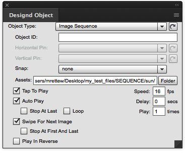 Image Sequence Panel Settings