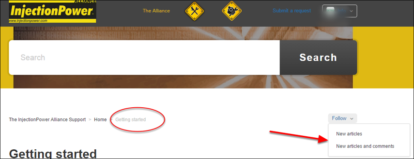 In sections, you can subscribe to articles, or to articles and comments.