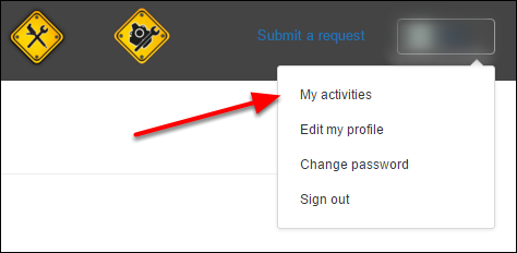 Click your profile icon on the upper-right side of any page, and then click My activities.