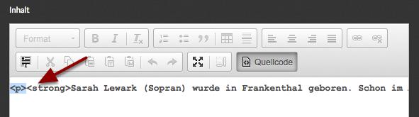 """Suche das erste öffnende HTML-Tag (in diesem Fall """"<p>"""")"""