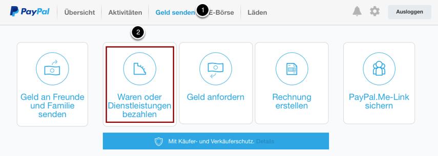 """Logge Dich in Dein Paypal-Konto ein, klicke auf """"Geld senden"""""""