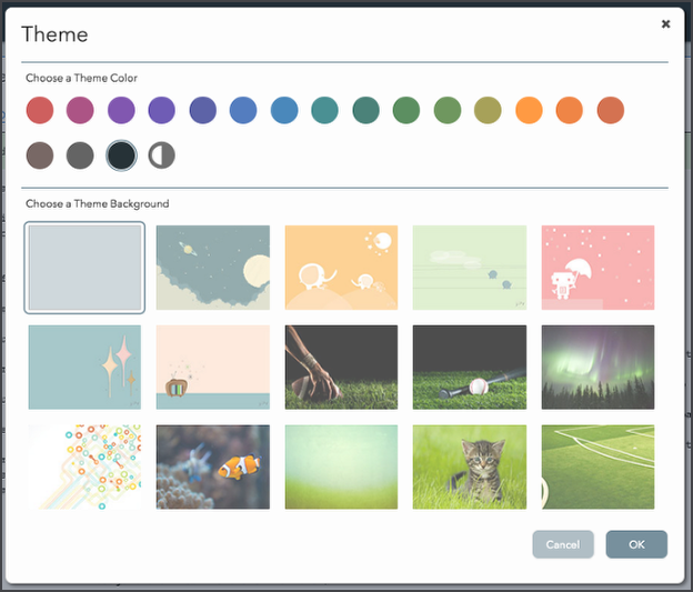 "Screenshot of the ""Choose a Theme Color"" menu."
