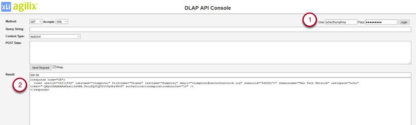 Log into DLAP API Console