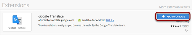 Chrome Web Store - Add Google Translate to your Browser