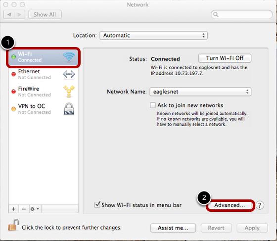 Navigating to Advanced Wifi options