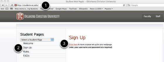Request a Student Web Page