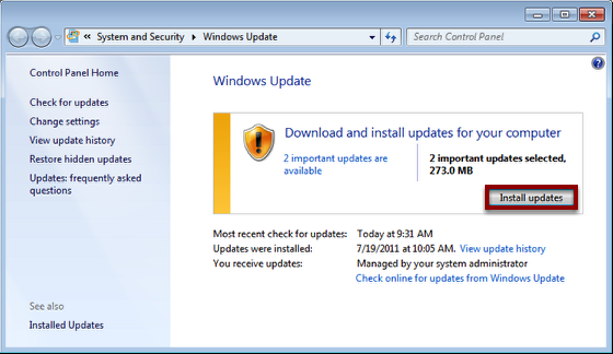 """Click """"Install updates"""" to Install Any Available Updates"""