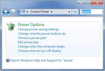 Power settings- Windows