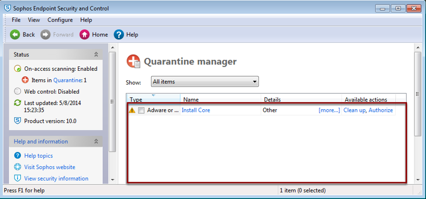 Quarantine Manager Displays All Known Viruses