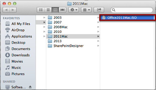 "Double-Click ""Office2011Mac.ISO"""
