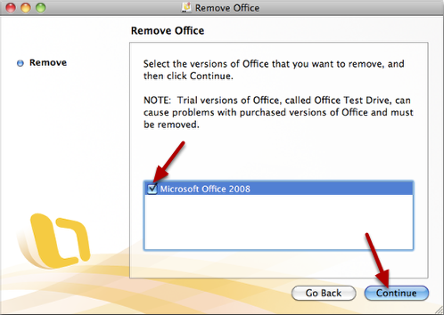 Select Microsoft Office 2008