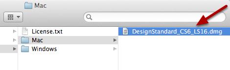 Double Click on DesignStandard_CS6_LS16.dmg