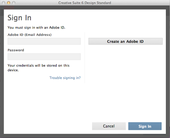 Sign In or Create an Adobe ID