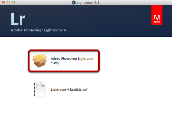 "Select ""Adobe Photoshop Lightroom 4.pkg"""