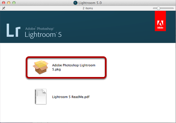 "Select ""Adobe Photoshop Lightroom 5.pkg"""