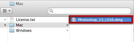 Double-Click on Photoshop_13_LS16.dmg