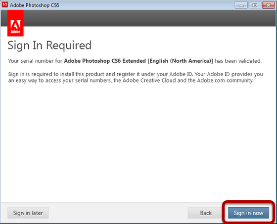 Sign in with your Adobe account, or you can create a new account
