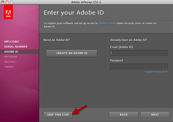 Skip the Enter your Adobe ID step