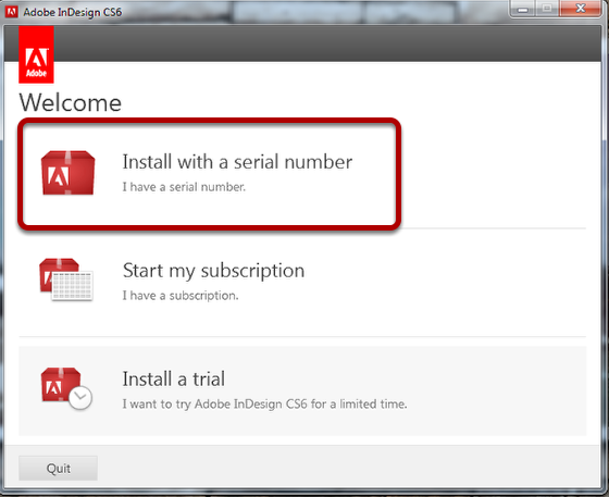 "Select ""Install with a serial number"""