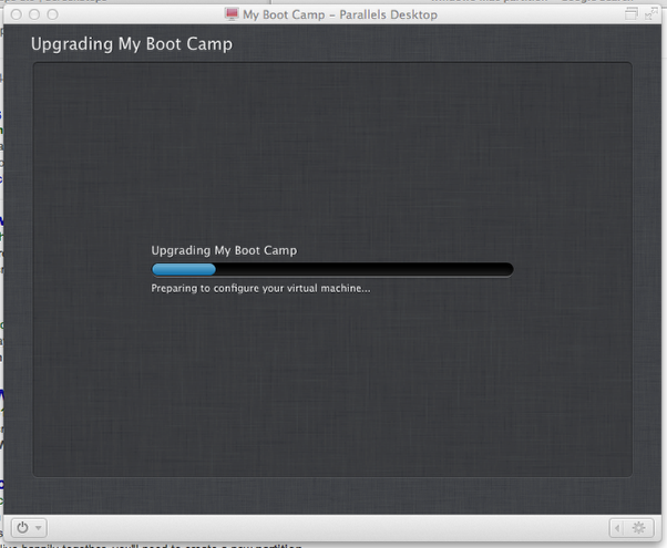 Wait While Boot Camp Upgrades and Configures Your Virtual Machine