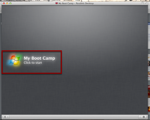 """Click """"My Boot Camp: Click to Start"""" to Start Parallels"""