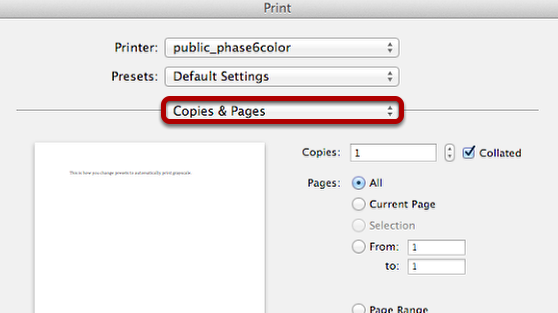 "Open the ""Copies & Pages"" Drop-down Menu"