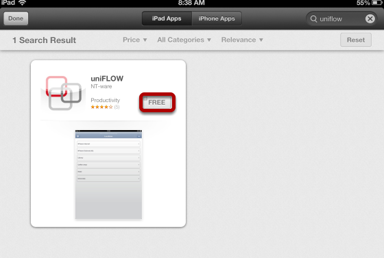 """Click """"FREE"""" to Install the Free uniFLOW App"""