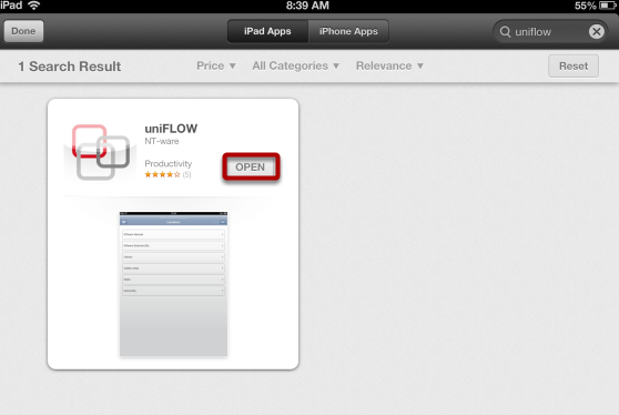 """Once the App Has Downloaded Click """"OPEN"""" to Open the uniFLOW App"""