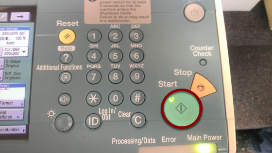 """Push the Green """"Start"""" Button to the Right of the Touch Screen"""