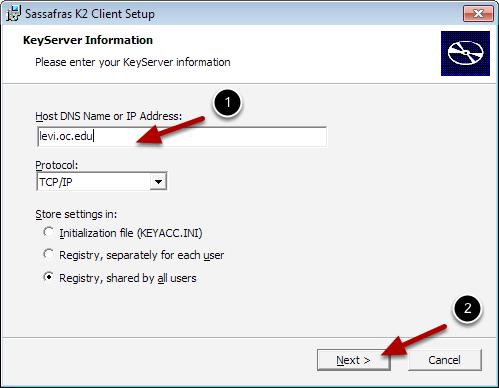 Enter KeyServer Information