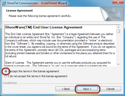 "Accept the License Agreement, and click ""Next""."