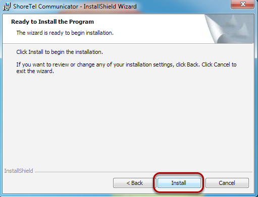 "To finish the InstallShield Wizard, click ""Install""."