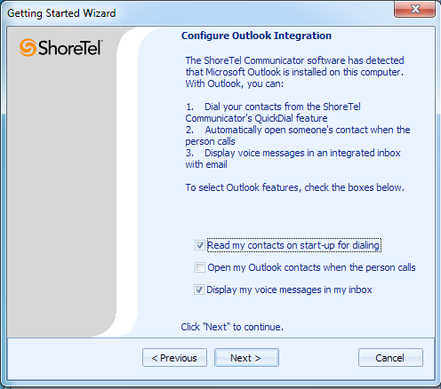 You will have the option to sync ShoreTel with your Outlook Account.