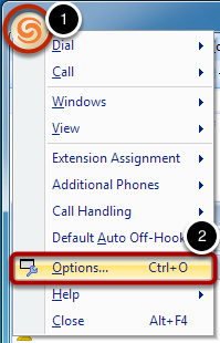 "Click the ShoreTel Logo in the Top-left and Select ""Options"""