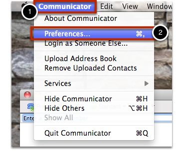 "Select ""Communicator"" in the top left-hand corner, and then ""Preferences""."
