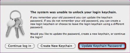 "Click ""Update Keychain Password"""