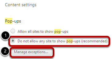 Allow pop-ups from certain sites