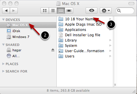 In the Mac OS, your data should be located in the root of Mac OS