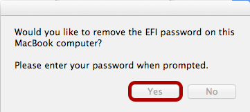"Click ""Yes"" to Remove the Password"