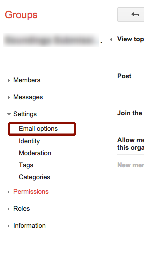 "Click ""Email Options"" in Left Panel"