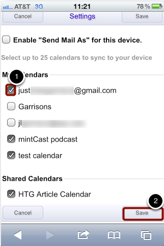 Select Calendars to Sync