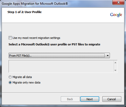 """Select """"From PST File(s).."""""""