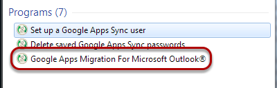 Select Google Apps Migration from the Start Menu