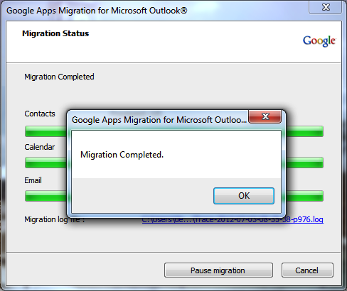 A status bar will open and show you the progress of your migration.