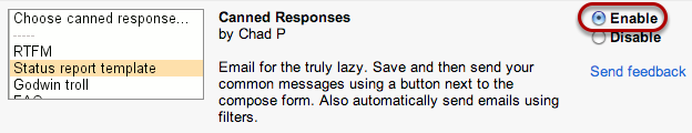 """Select """"Enable"""" for the """"Canned Responses"""" lab."""
