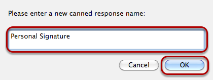 """Enter the name for your signature, and click """"OK."""""""