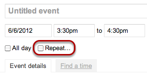 """On the event's detail page, click the """"Repeat..."""" checkbox."""